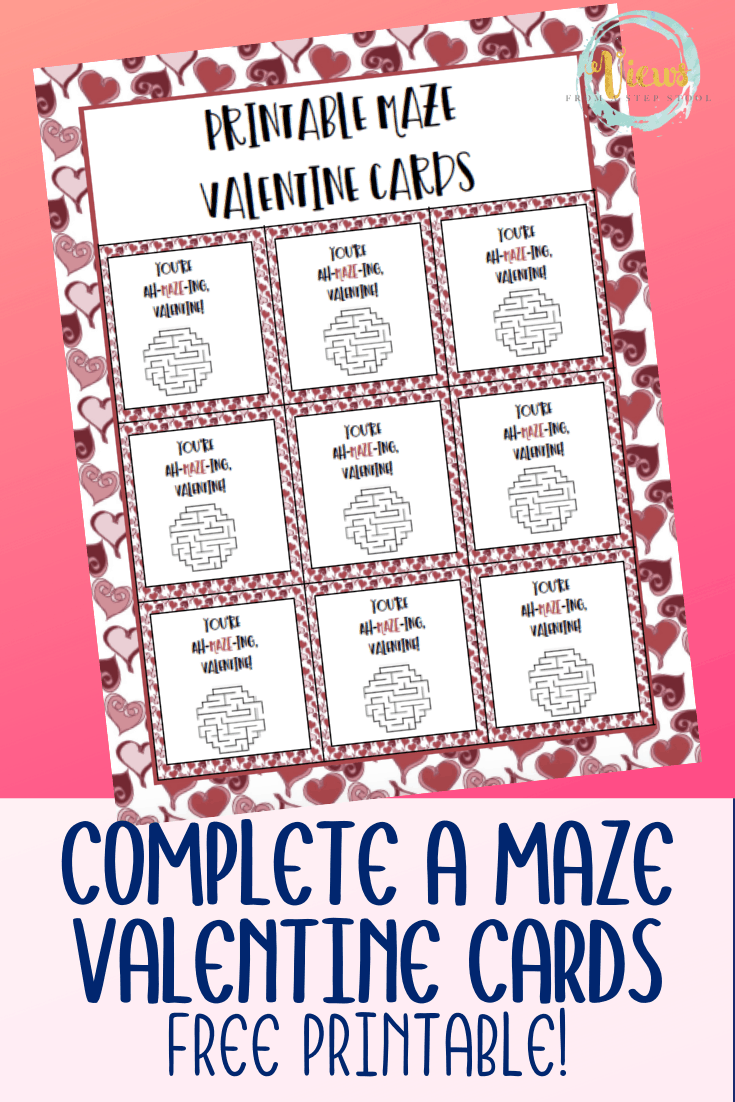 printable maze valentines day cards for kids