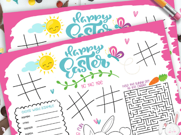 Printable Easter Placemat for Kids with Fun Activities