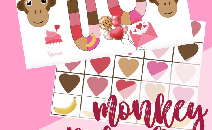Cute Monkey Printable Valentine Board Game