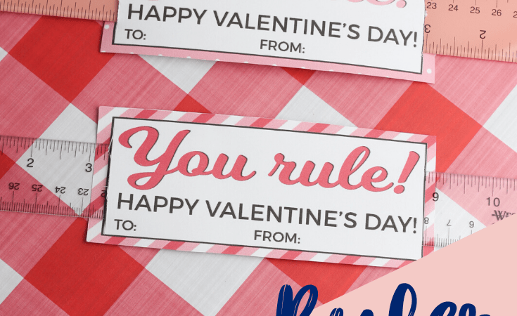 Ruler Valentines with Printable Cards