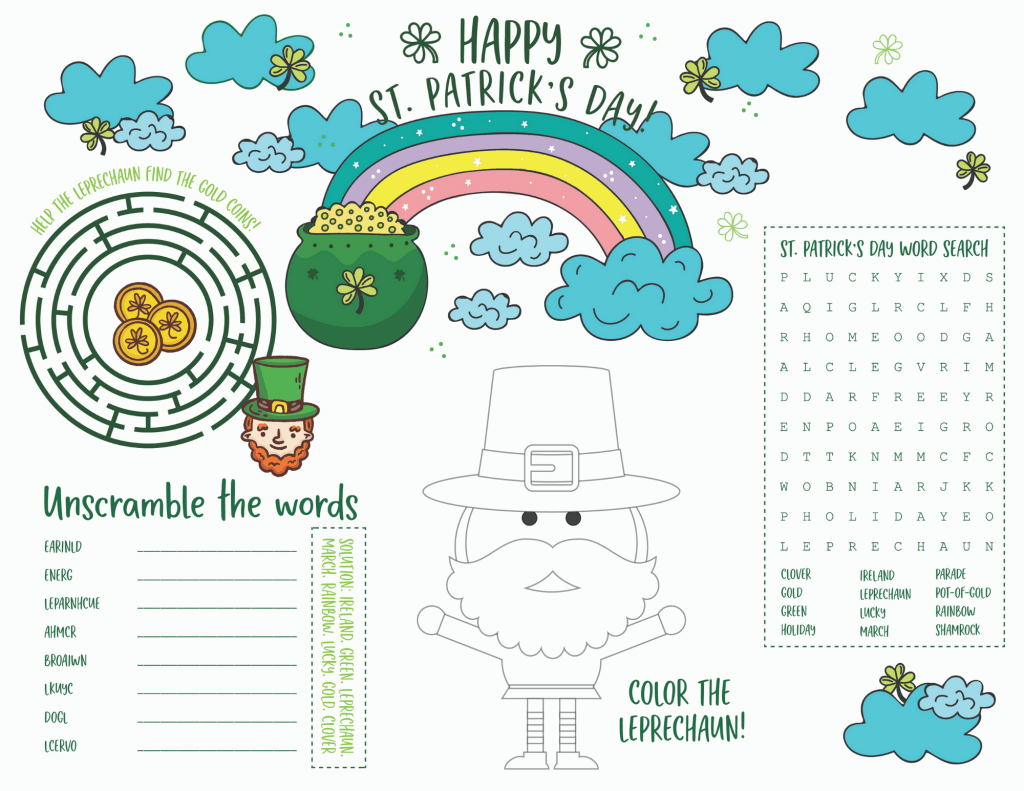A free printable St Patricks Day placemat for kids. Great for meal time or school including a word search, a maze, color the leprechaun, and word scramble. Print off as many copies as you need!  #stpatricksdaykidsactivities #kidsactivities #printableplacemat #printableactiviites #holidayswithkids #kidsprintables