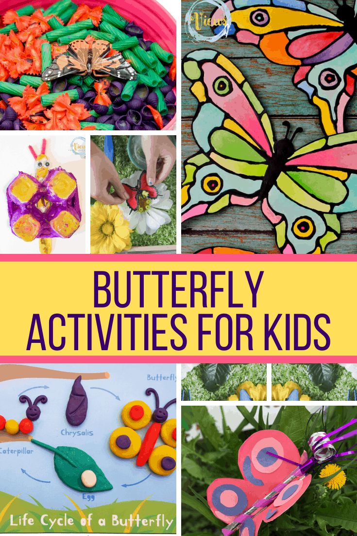 butterfly activities for kids with collage of crafts