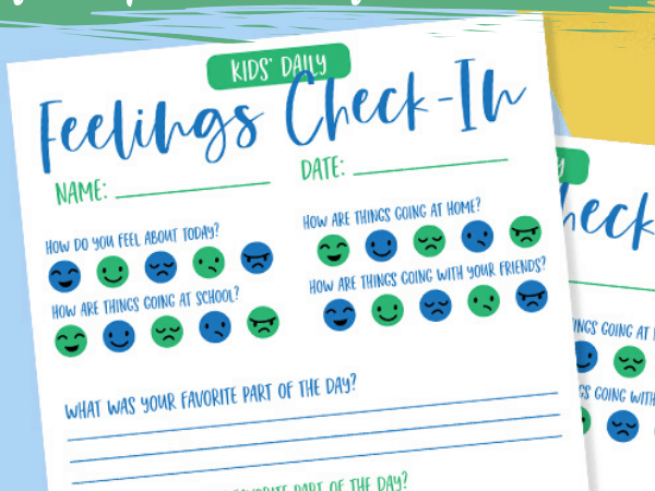 Kids Daily Feelings Check In Printable