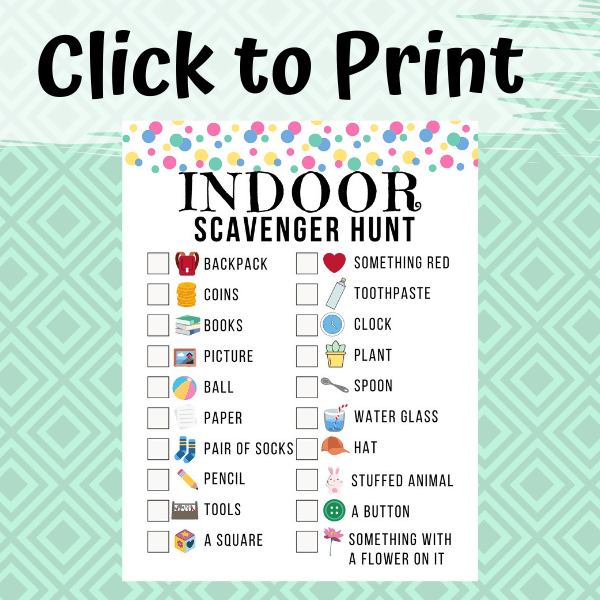 Indoor Scavenger Hunt Printable For Kids Views From A Step Stool