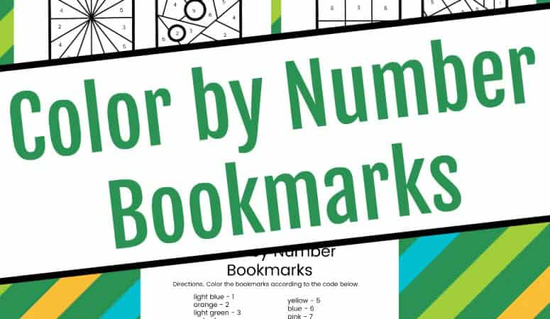 Color by Number Printable Bookmarks