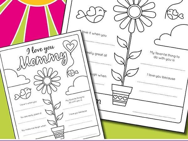I Love You Mom Coloring Page for Kids