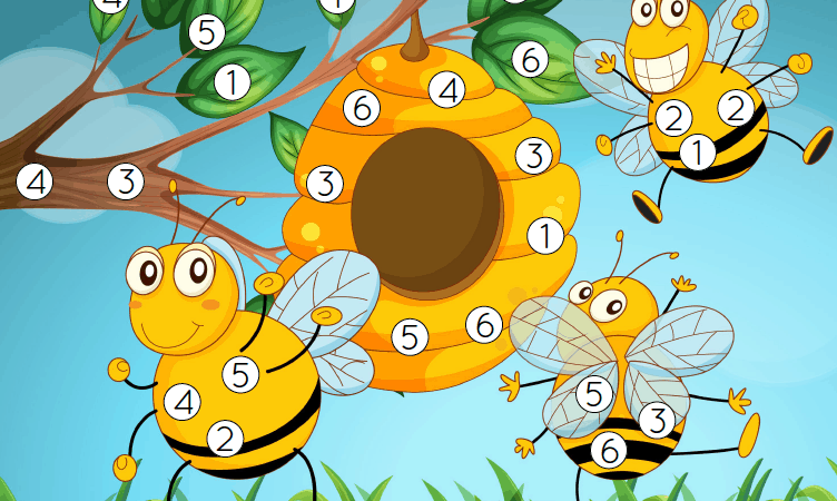 Honey Bee Roll and Cover Dice Game Printable