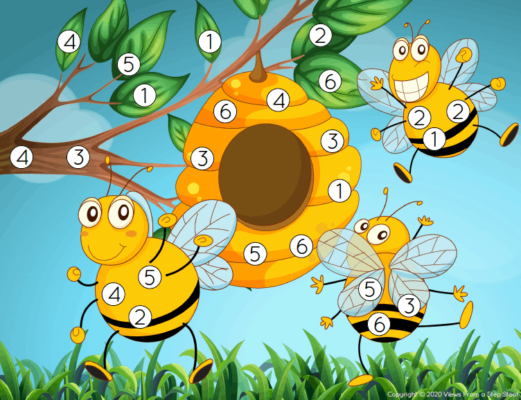 Check out this fun honey bee roll and cover dice game! It's a great way to teach number recognition and work on counting skills, too. #dicegame #printablegame #honeybeeactivity #kidsactivities #printablesforkids