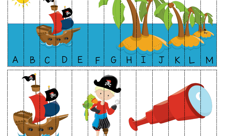 Pirate Printable Alphabet Puzzle for Kids