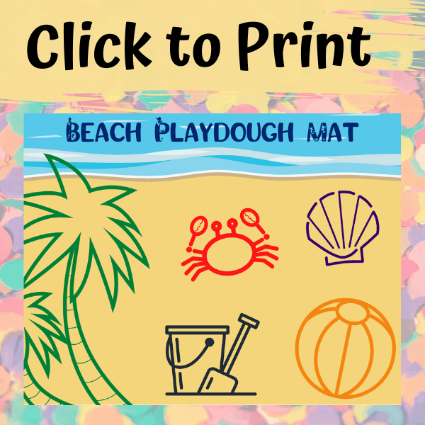 This beach playdough mat is a fun printable that kids can use to play with their playdough on. What a fun way to create with sensory play. #sensoryplay #playdoughmat #beachactivitiesforkids #beachplaydoughmat