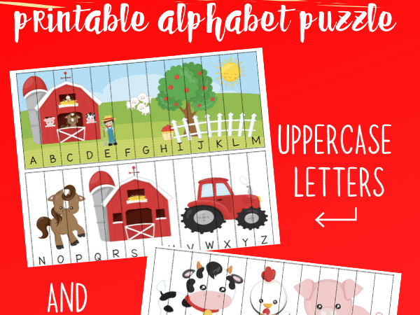 Farm Printable Alphabet Puzzle with Uppercase and Lowercase