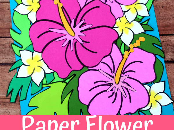 Paper Flower Card with Printable Flowers