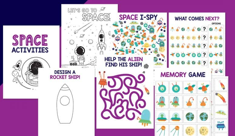 Space Printable Activities: Memory, Maze, I Spy and More