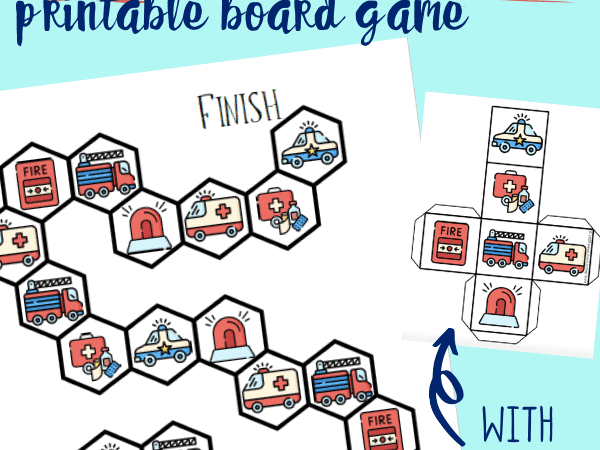 Emergency Vehicles Printable Board Game