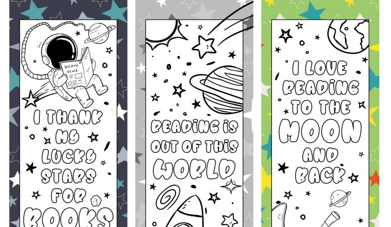 Space Printable Bookmarks to Color