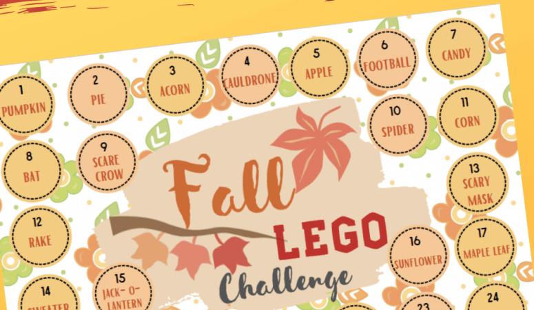 Fall Lego Challenge Calendar to Print