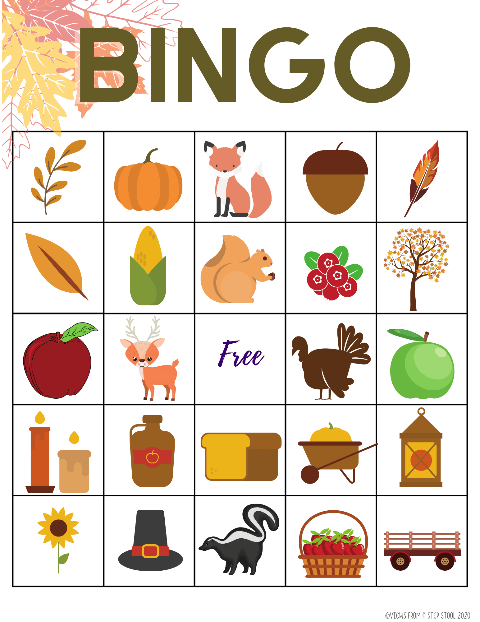 Printable Fall Bingo Game For Kids Views From A Step Stool