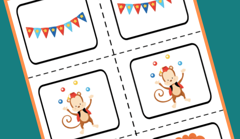 Printable Circus Matching Game for Toddlers and Preschoolers