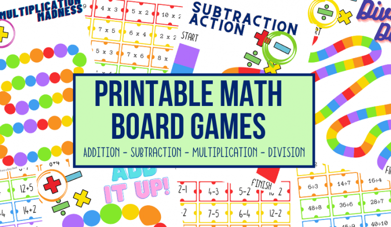 Printable Math Board Games: Addition, Subtraction, Multiplication and Division