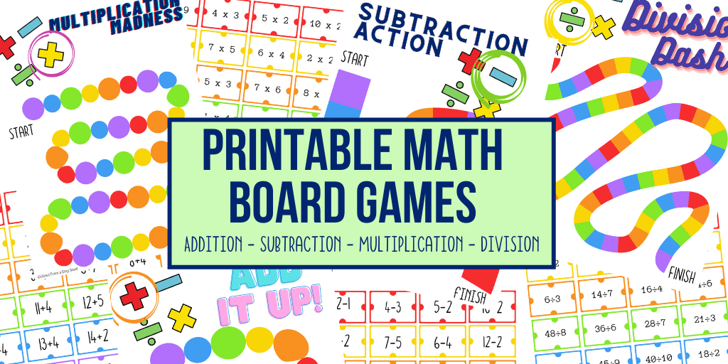 Printable Math Board Games: Addition, Subtraction, Multiplication And  Division - Views From A Step Stool