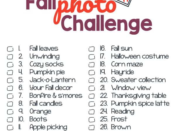 Fall Photo Challenge Printable for Kids