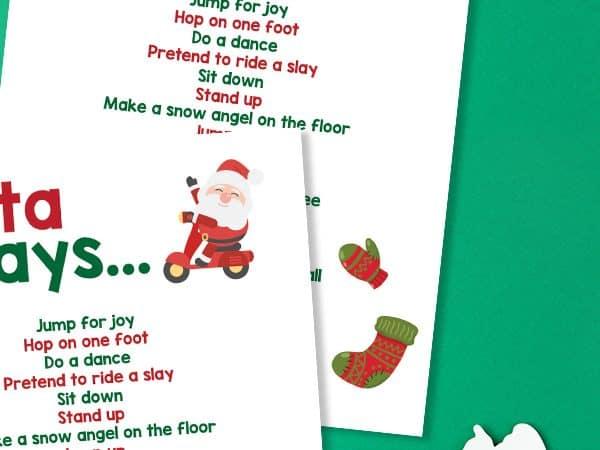 Santa Says Printable Christmas Game