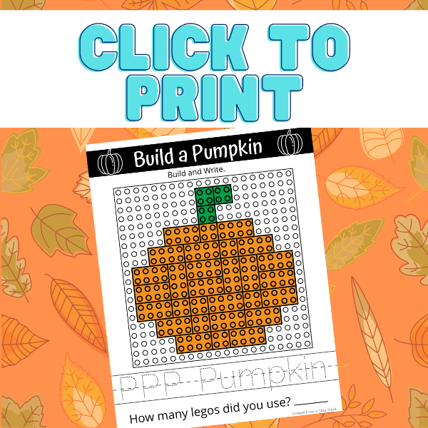 This pumpkin lego challenge printable includes a building template for kids to make a lego pumpkin. Additionally, practice writing the word pumpkin! #legochallengeforkids #kidsactivities #fallactivitiesforkids #legoactivities #pumpkinlego
