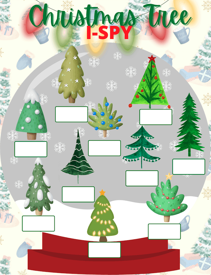 This Christmas Tree I Spy Printable is so much fun for everyone in the family to play. It's a great holiday game for all ages. #christmasprintables #kidsactivities #christmasforkids #kidschristmas #kidsprintables #printablegames #ispyprintable