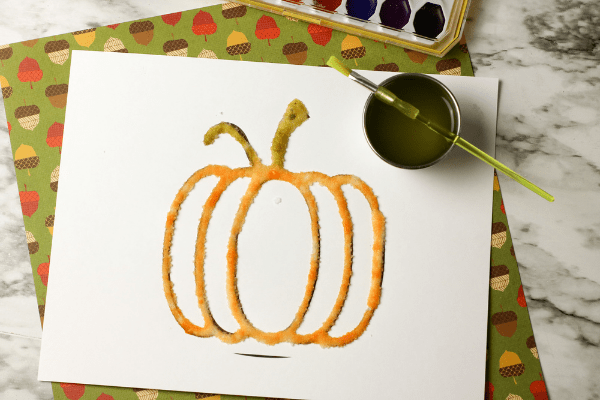 pumpkin salt painting finished activity