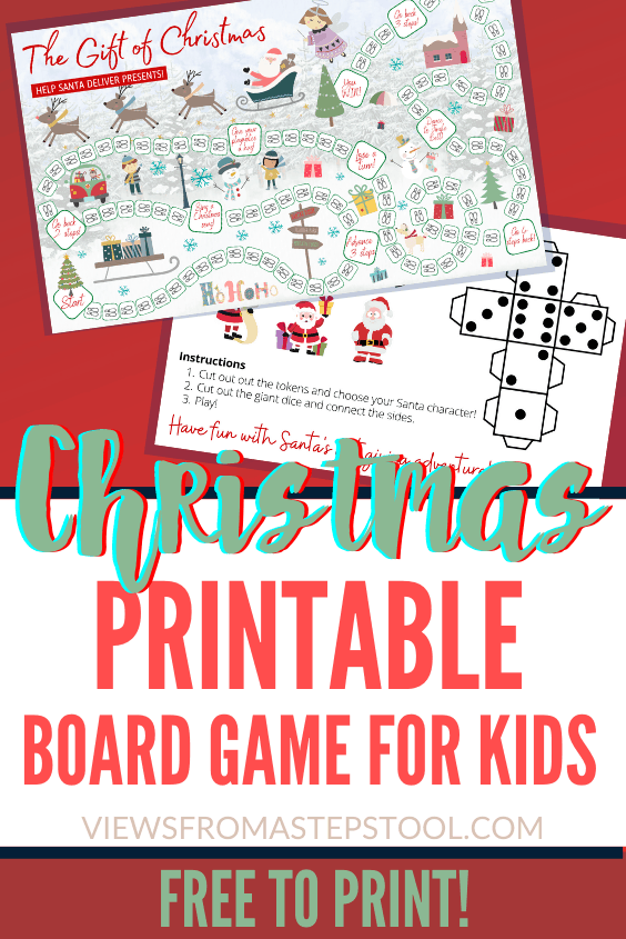 This Christmas printable board game is a great holiday game for families. Easy for all ages to play, with printable dice and tokens. #printablechristmasgames #printableboardgames #kidsactivities #printablesforkids #christmasactivities #kidschristmas