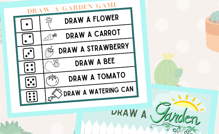 Drawing Garden Game to Print for Kids: Roll and Draw!