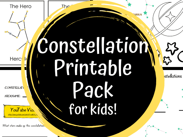 Constellations for Kids: Constellation Coloring Pages, Flashcards and Science Experiment Printable