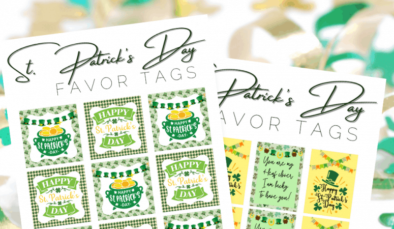 St. Patrick's Day Printable Favor Toppers