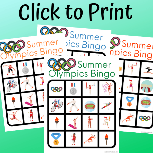 click to print olympics bingo game cards